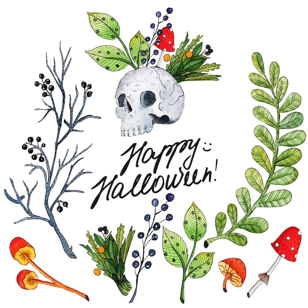 Illustrazione dell'acquerello di vettore per happy halloween Vettore Premium