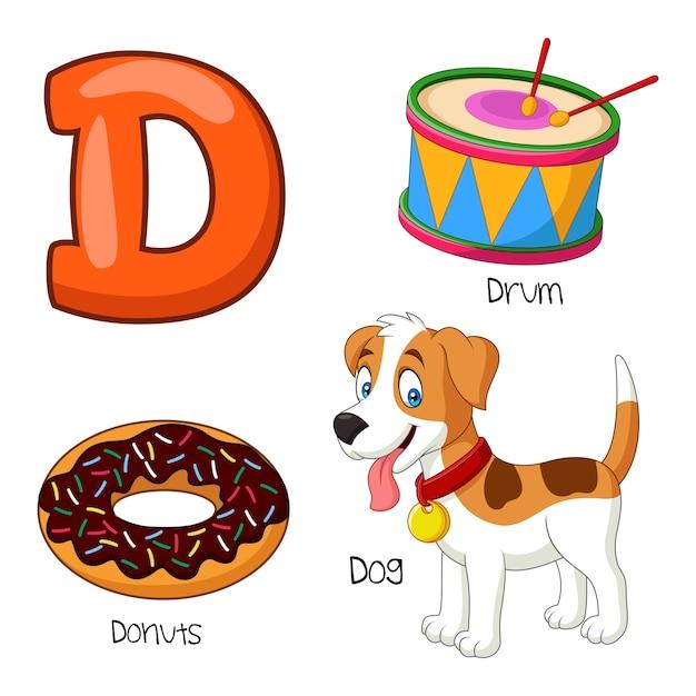 Illustrazione dell'alfabeto d. Vettore Premium