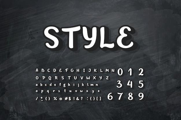 Illustrazione dell'alfabeto gesso sulla lavagna. Vettore Premium