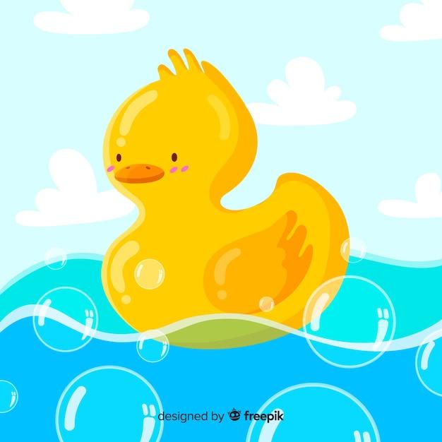 Illustrazione dell'anatra di gomma gialla sveglia su acqua piena di bolle Vettore gratuito
