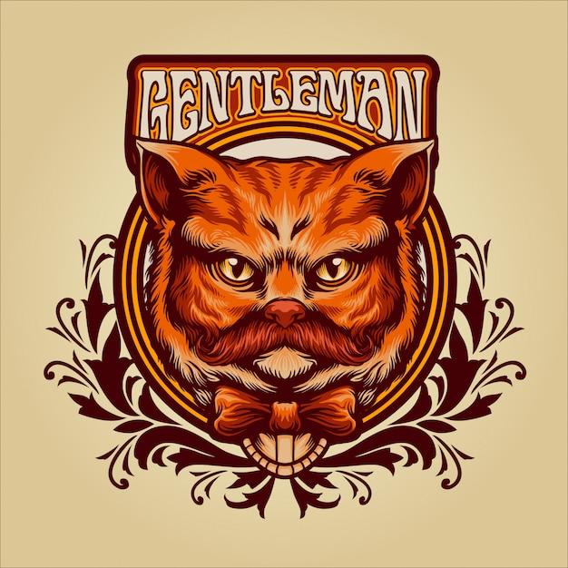 Illustrazione dell'annata del gatto arancione del signore Vettore Premium