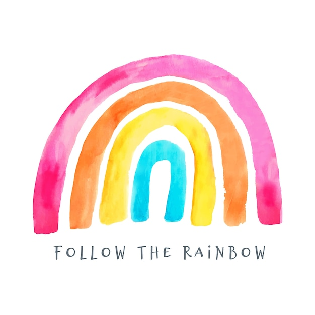 Illustrazione dell'arcobaleno dipinto variopinto Vettore gratuito