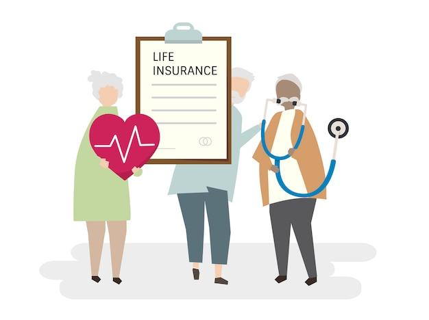 Illustrazione dell'assicurazione sulla vita adulta senior Vettore gratuito