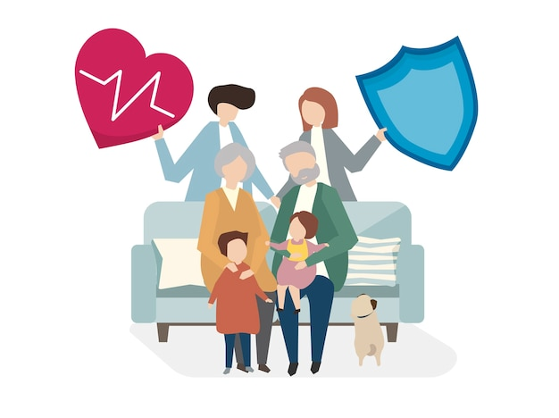 Illustrazione dell'assicurazione sulla vita familiare Vettore gratuito
