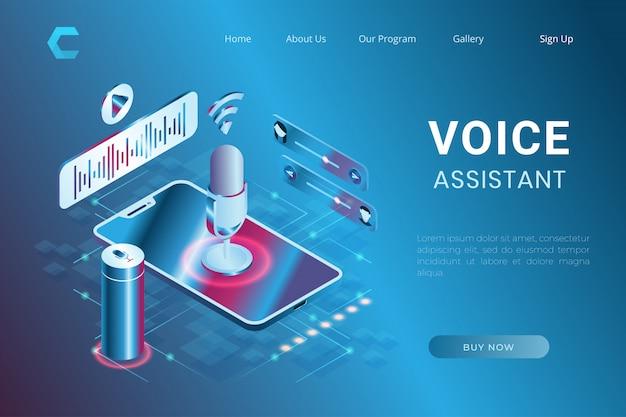 Illustrazione dell'assistente vocale e del riconoscimento vocale, sistema di controllo di comando nello stile isometrico 3d Vettore Premium