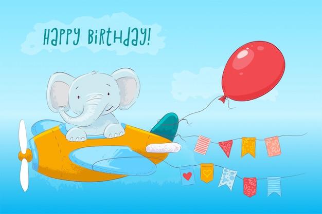 Illustrazione dell'elefante sveglio che vola su un aeroplano. stile cartone animato vettore Vettore Premium