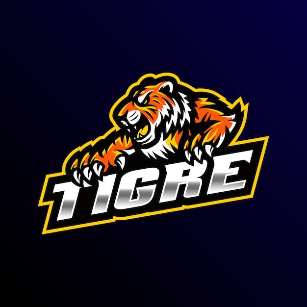Illustrazione dell'esport di gioco di logo della mascotte della tigre Vettore Premium