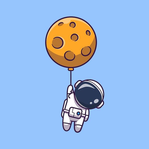 Illustrazione dell'icona dell'astronauta floating with moon. personaggio dei cartoni animati di astronauta mascotte. concetto dell'icona di scienza isolato Vettore Premium