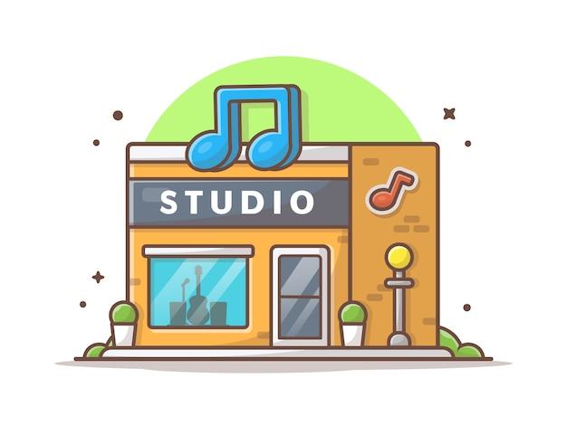 Illustrazione dell'icona dello studio di musica. bianco moderno di architettura della costruzione dello studio di industria discografica isolato Vettore Premium