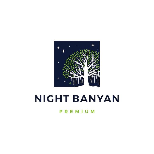 Illustrazione dell'icona di logo dell'albero di banyan di notte Vettore Premium