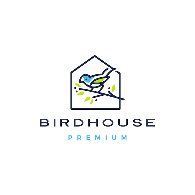 Illustrazione dell'icona di logo della casa dell'uccello Vettore Premium