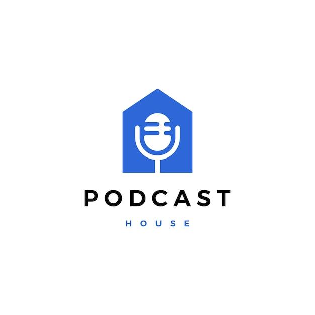 Illustrazione dell'icona di logo della casa della casa del mic di podcast Vettore Premium