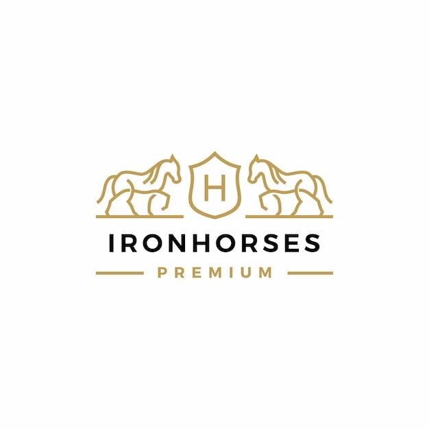 Illustrazione dell'icona di logo della stemma del cavallo Vettore Premium