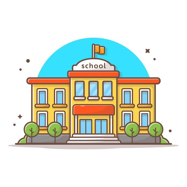 Illustrazione dell'icona di vettore dell'edificio scolastico. bianco di concetto dell'icona del punto di riferimento e della costruzione isolato Vettore Premium