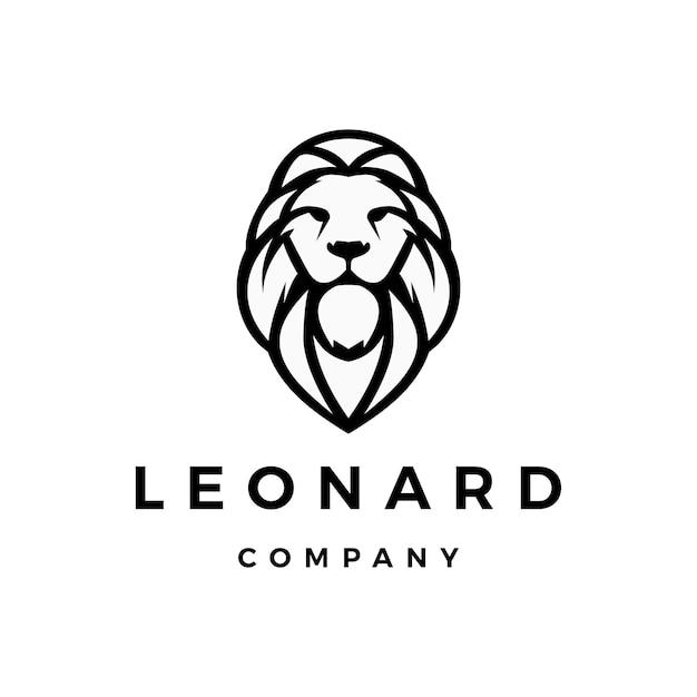 Illustrazione dell'icona di vettore di logo del leone Vettore Premium