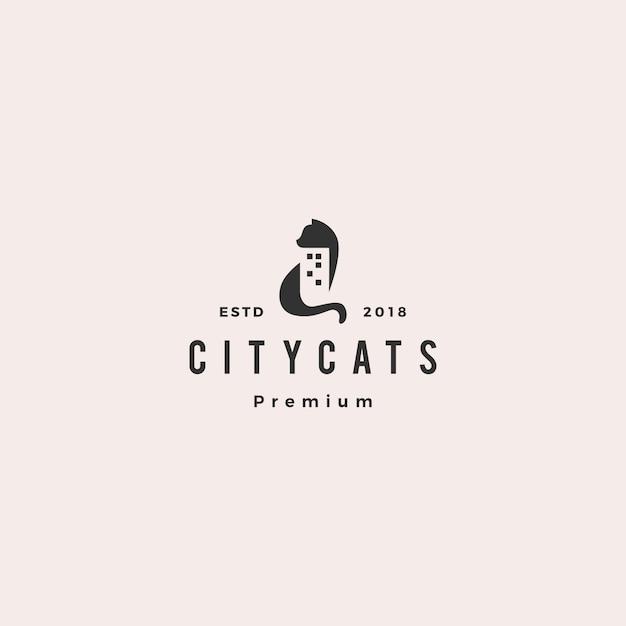 Illustrazione dell'icona di vettore di logo della casa della casa della costruzione della città del gatto Vettore Premium