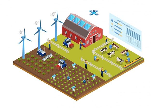 Illustrazione dell'illustrazione efficace di vettore di area dell'azienda agricola. Vettore Premium