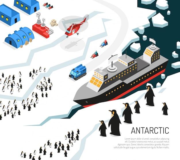 Illustrazione dell'insediamento dei pinguini del rompighiaccio dell'antartide Vettore gratuito