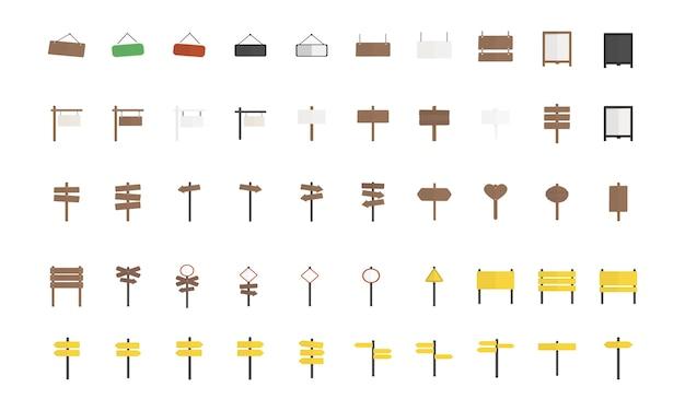 Illustrazione dell'insieme di vettore del segno in bianco Vettore gratuito