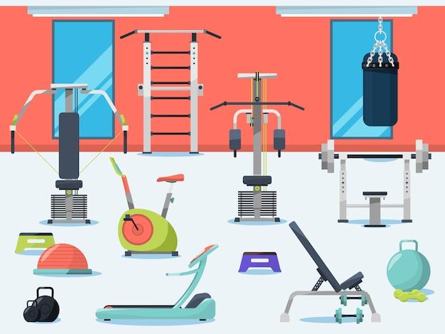 Illustrazione dell'interno della palestra con attrezzature sportive diverse Vettore Premium
