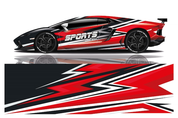 Illustrazione dell'involucro della decalcomania dell'automobile sportiva Vettore Premium