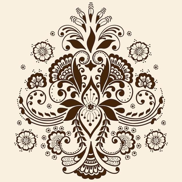 Illustrazione dell'ornamento di mehndi Vettore gratuito