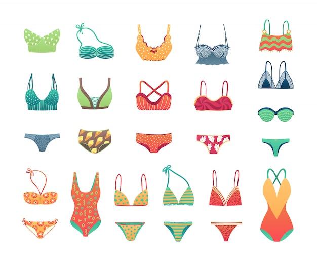 Illustrazione della biancheria della biancheria intima dell'insieme, del bikini e dello swimwear della spiaggia di estate, delle ragazze e della donna. Vettore Premium