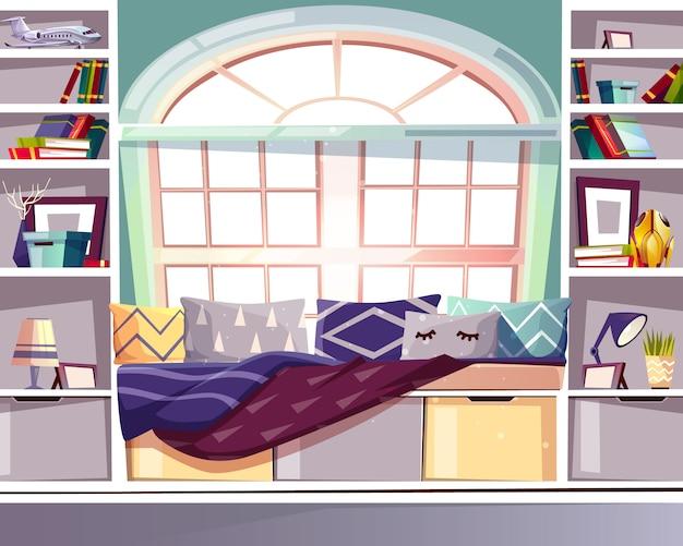 Illustrazione della biblioteca del sedile dell'arco finestra della baia a casa. interni in stile provenzale francese Vettore gratuito