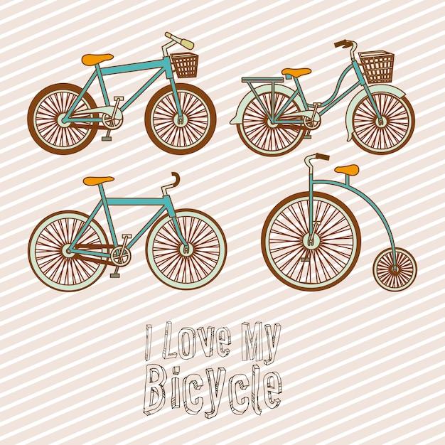 Illustrazione della bicicletta Vettore Premium