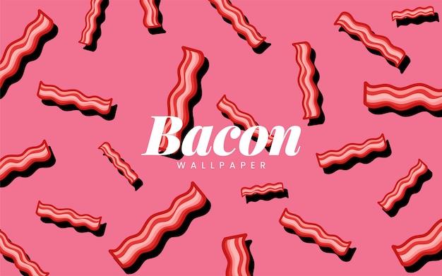 Illustrazione della carta da parati dell'alimento del modello del bacon Vettore gratuito