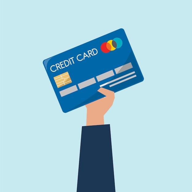 Illustrazione della carta di credito della holding della mano Vettore gratuito