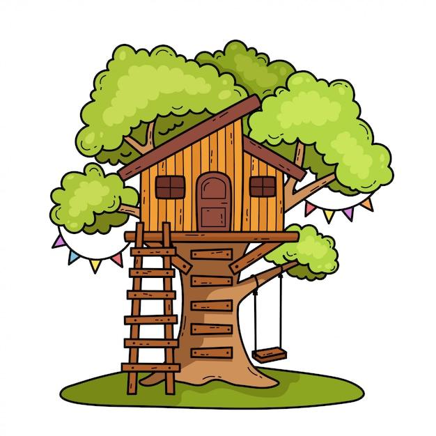 Illustrazione della casa sull'albero Vettore Premium