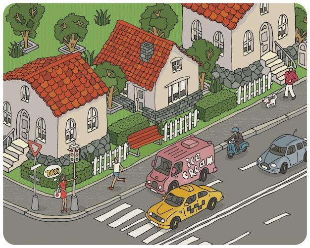 Illustrazione della città del fumetto di vettore Vettore Premium
