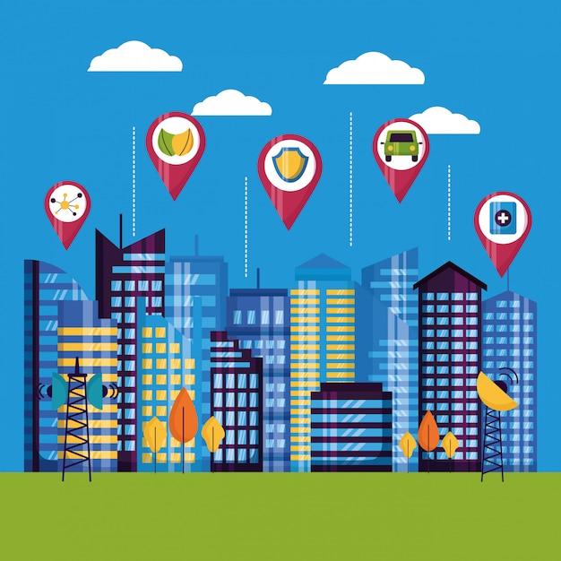 Illustrazione della città intelligente Vettore gratuito