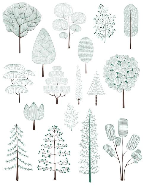 Illustrazione della collezione di alberi di pino Vettore gratuito