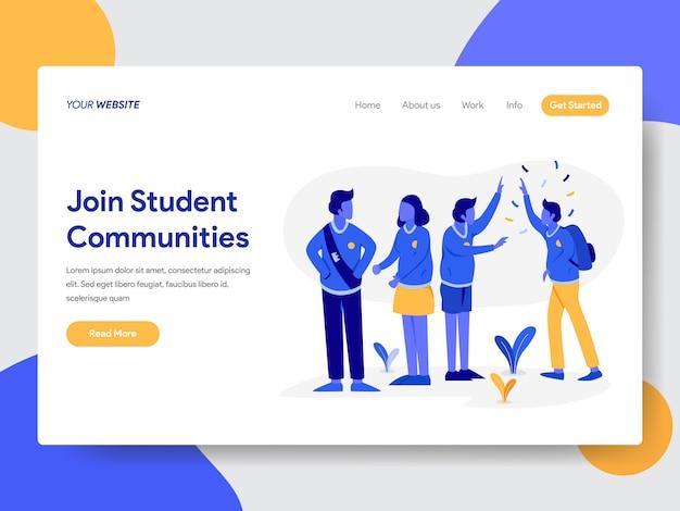 Illustrazione della comunità studentesca per le pagine web Vettore Premium