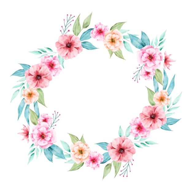 Illustrazione della corona floreale lussureggiante nello stile dell'acquerello Vettore gratuito