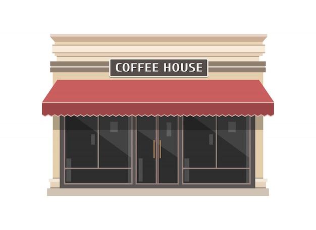 Illustrazione della costruzione di coffeeshop nello stile piano Vettore Premium