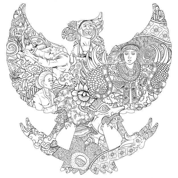 Illustrazione della cultura in indonesia Vettore Premium