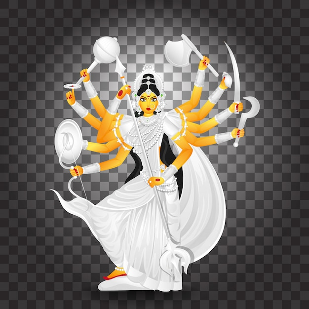 Illustrazione della dea durga maa Vettore Premium