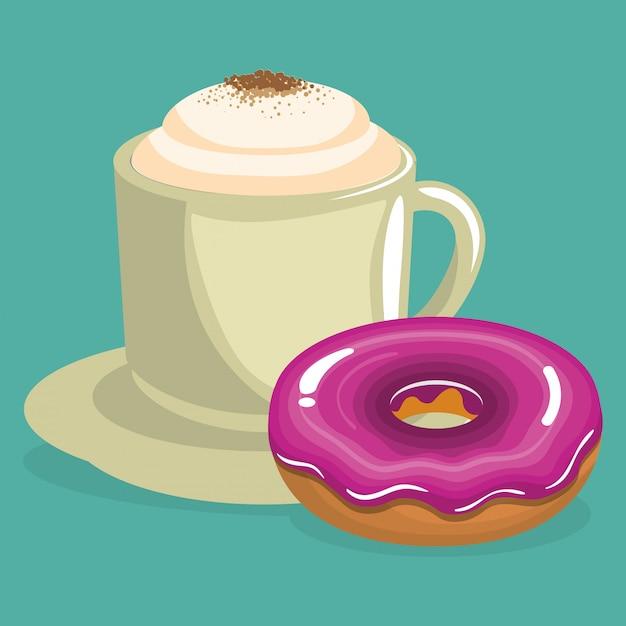 Illustrazione della deliziosa tazza di caffè e ciambelle Vettore gratuito