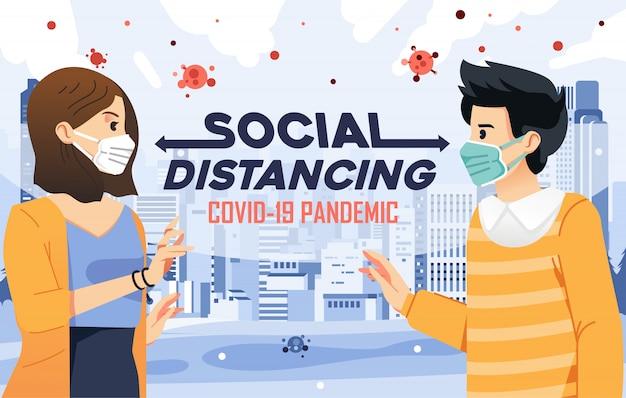 Illustrazione della distanza sociale per evitare il contagioso di covid-19 con lo sfondo della città Vettore Premium