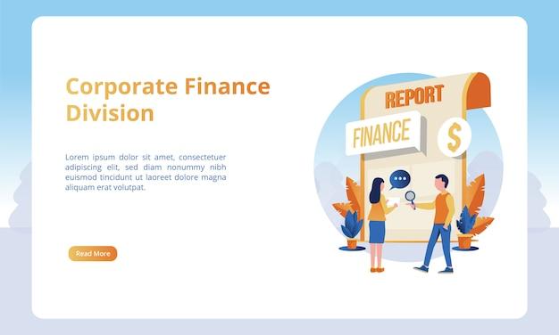 Illustrazione della divisione finanza aziendale, concetti di business per i modelli di landing page Vettore Premium