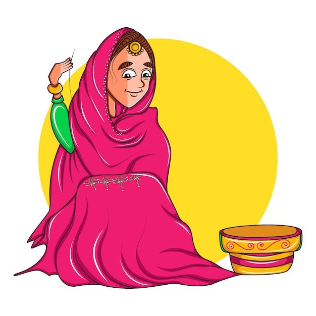 Illustrazione della donna che si siede e che fa progettazione sul panno. Vettore Premium