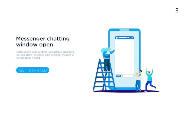 Illustrazione della finestra di messaggistica Vettore Premium