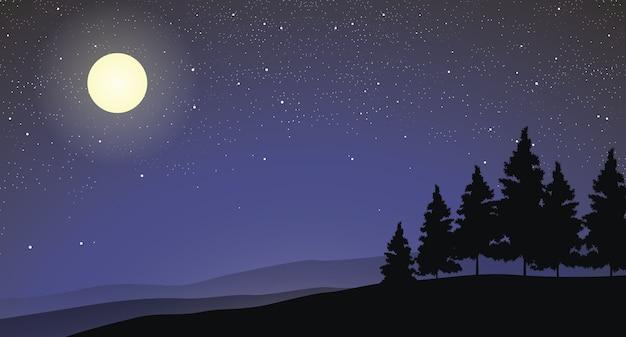 Illustrazione della foresta di pino su una collina con