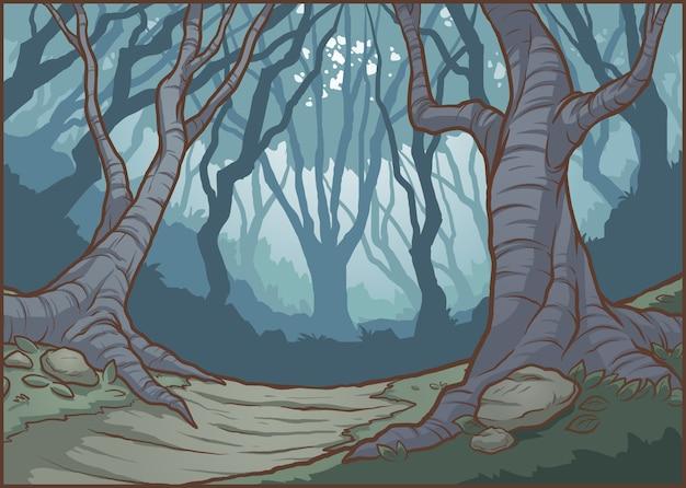 Illustrazione della foresta oscura Vettore Premium
