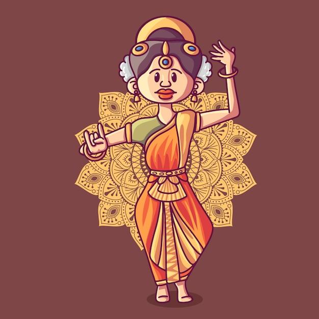 Illustrazione della forma di danza indiana bharatnatyam Vettore Premium
