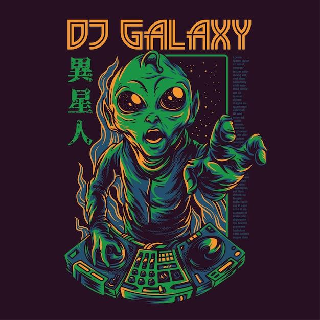 Illustrazione della galassia del dj Vettore Premium