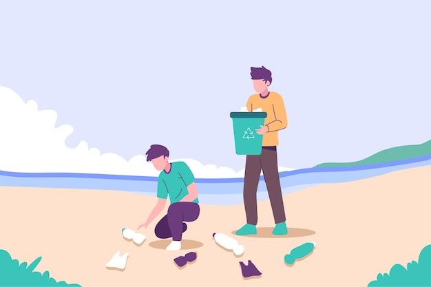 Illustrazione della gente che pulisce spiaggia Vettore gratuito